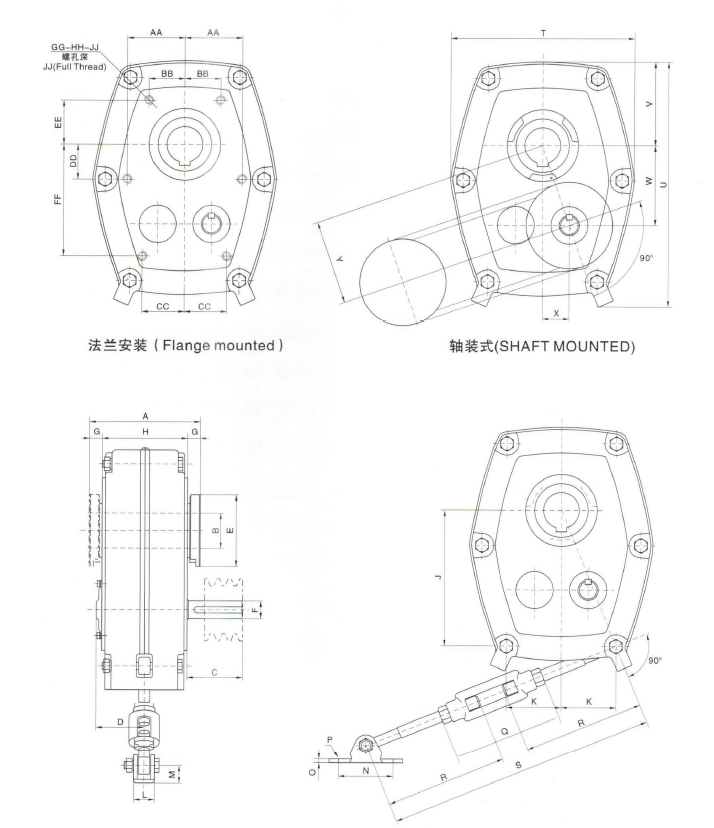 Shaft-Mount-Reducer-Dimensions
